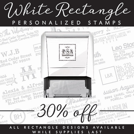 PSA Essentials -- White Rectangle Personalized Stamps -- The Envelope Please KY