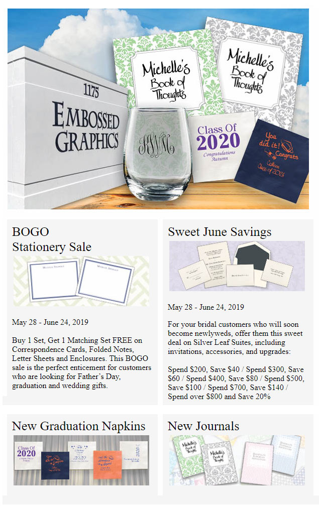 Embossed Graphics - June 2019 Sales
