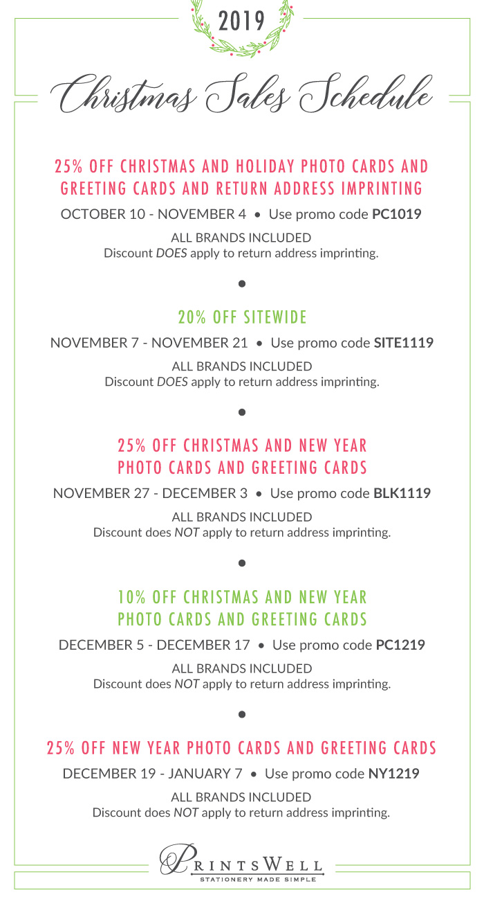 Printswell 2019 Holiday Sale Schedule